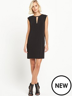 warehouse-faux-leather-trim-dress