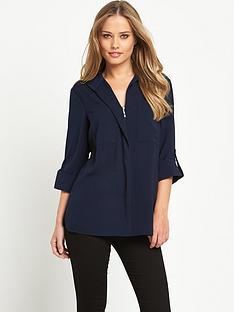 warehouse-dobby-zip-front-shirt