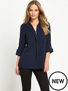 warehouse-warehouse-dobby-zip-front-shirt