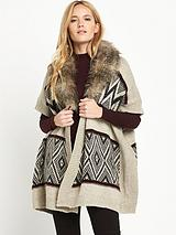 Faux Fur Collar Fair Isle Cardi Cape