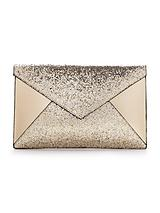 Glitter Panel Envelope Clutch - Gold