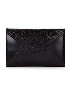glitter-panel-envelope-clutch-black