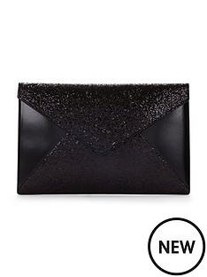 glitter-panel-envelope-clutch-black