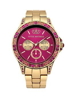 little-mistress-little-mistress-pink-stone-set-yellow-gold-tone-bracelet-ladies-watch
