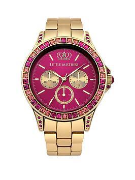 little-mistress-little-mistress-pink-stone-set-yellow-gold-tone-bracelet-ladies-watch