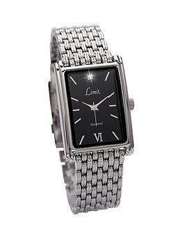Limit Silver Tone Bracelet Square Face Black Dial Mens Watch