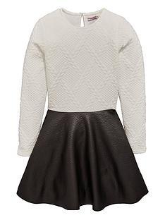 freespirit-girls-bubble-jacquard-dress-with-pu-skirt