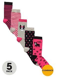 freespirit-girls-dog-and-stripe-socks-5-pack
