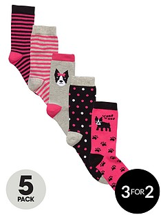 freespirit-girls-dog-and-stripe-socks-5-pack