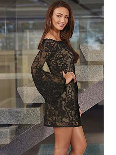 lipsy-michelle-keegan-lace-bell-sleeve-bardot-dress
