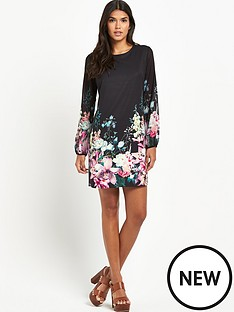 lipsy-lipsy-long-sleeve-floral-detail-shift-dress