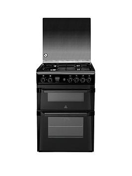 Indesit Id60G2K 60Cm Gas Cooker Double Oven  Black