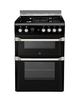 Indesit Indesit Id60G2K 60Cm Gas Cooker Double Oven With Fsd - Black Picture