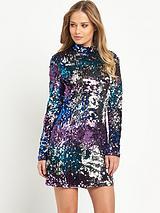High Neck Sequin Bodycon Dress