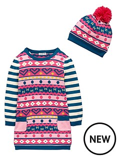 ladybird-girls-fairisle-knitted-dress-with-bobble-hat-2-piece