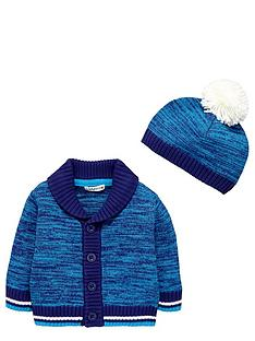 ladybird-baby-boys-shawl-cardigan-and-bobble-hat-2-piece