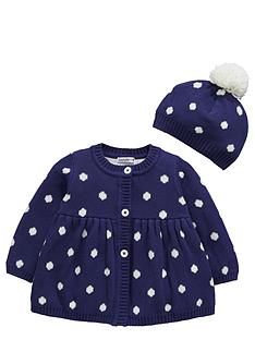 ladybird-baby-girls-polka-dot-cardigan-and-bobble-hat-set-2-piece