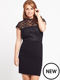 coleen-coleen-lace-top-skater-dress