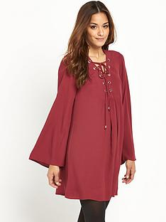 south-bell-sleeve-lace-up-front-tunicnbsp