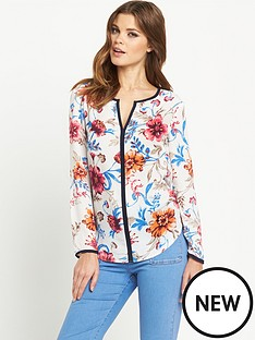 definitions-printed-contrast-trim-blouse