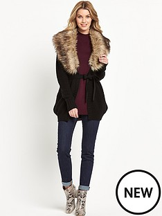 south-faux-fur-collar-cardigan