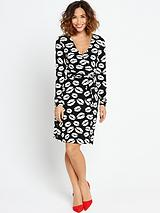 Lip Printed Wrap Dress