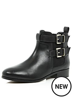 river-island-double-buckle-flat-ankle-boot