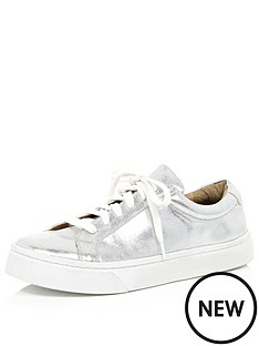 river-island-metallic-lace-up-plimsoll-trainers