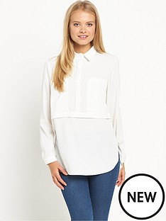 miss-selfridge-miss-selfridge-ivory-utility-shirt