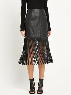 miss-selfridge-fringe-leather-skirt