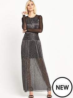 miss-selfridge-mesh-sleeve-plisse-maxi-dress