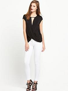 river-island-short-sleeve-key-hole-drape-top-black