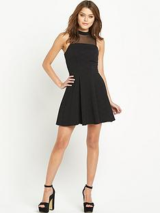 river-island-mesh-panel-waisted-skater-dress