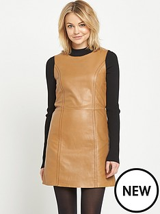 miss-selfridge-contrast-stitch-a-line-leather-dress