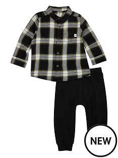 river-island-mini-river-island-34-roll-slv-blk-chk-shirt-and-pants-set