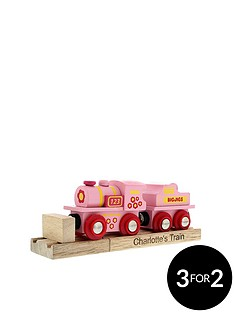personalised-pink-wooden-train-set