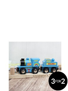personalised-blue-wooden-train-set