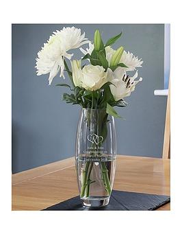 Very Personalised Entwined Hearts Vase Picture