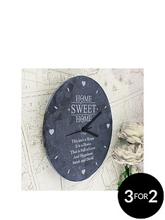 personalised-home-sweet-home-slate-clock