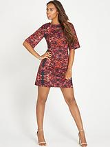 ROCHELLE FLORAL SHIFT WIDE SLEEVE DRESS
