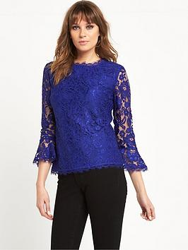 v-by-very-fluted-sleeve-lace-top