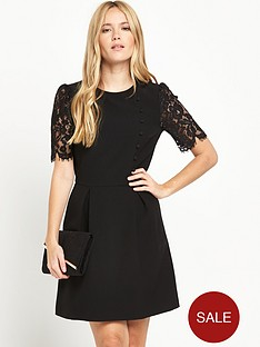 warehouse-lace-sleeve-button-front-dress