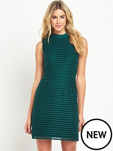 oasis-stripe-mesh-high-neck-dress