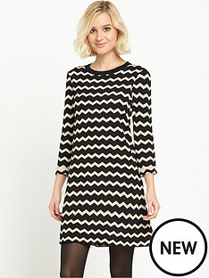 warehouse-compact-chevron-dress
