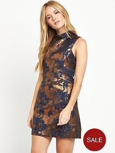 warehouse-high-neck-jacquard-dress