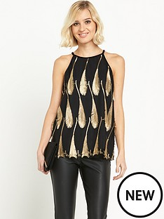 warehouse-warehouse-feather-jacquard-top