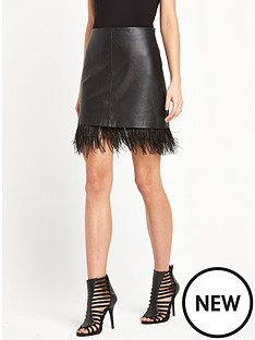warehouse-leather-a-line-skirt-with-feather-trim