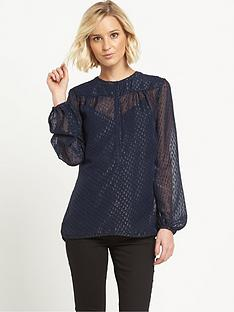 warehouse-metallic-jacquard-blouse