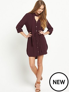 river-island-river-island-long-sleeve-pussybow-shirt-dress