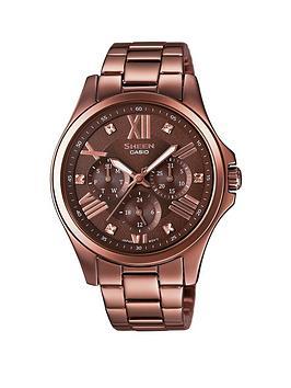 casio-sheen-casio-sheen-multifunction-black-dial-with-stainless-steel-brown-bracelet-ladies-watch